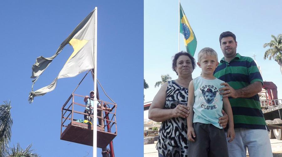 Prefeitura substitui bandeira esfarrapada da Praça Central