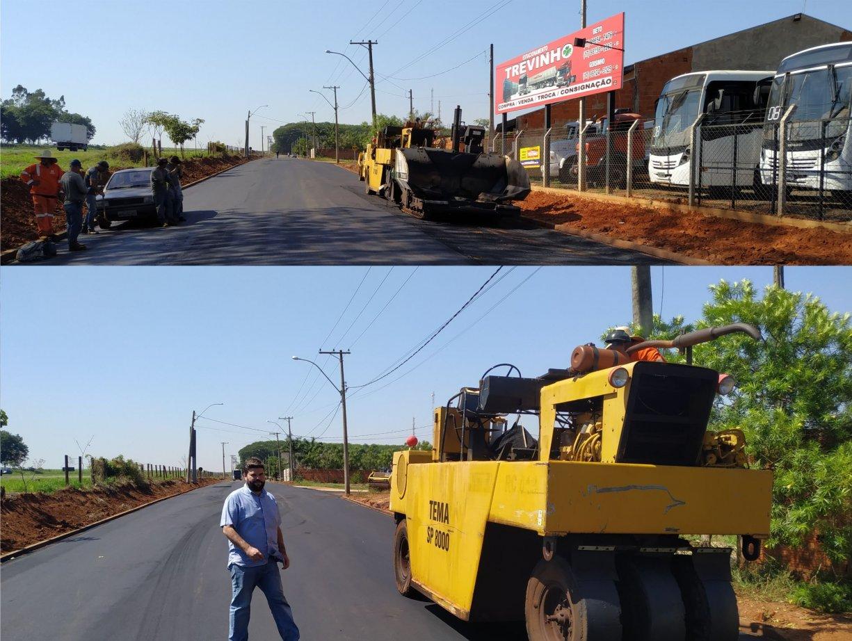 Abertura de rua com asfalto e infraestrutura liga bairros ao Distrito Industrial