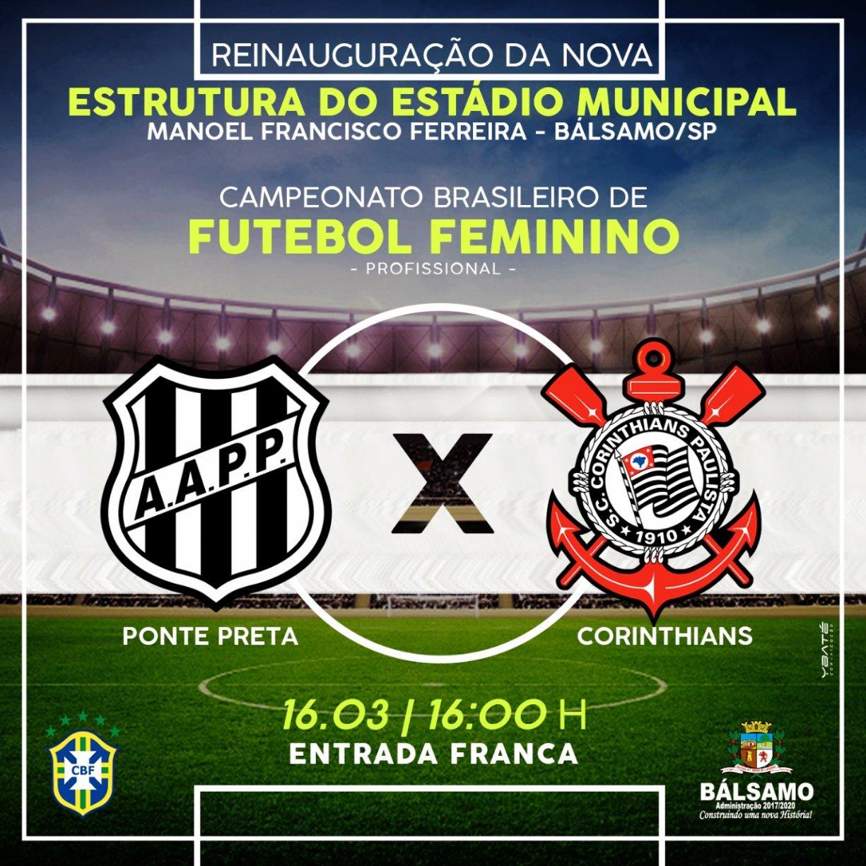 DE CASA NOVA: Após revitalização, Estádio de Bálsamo vira palco de Ponte Preta e Corinthians em jogo válido pelo Campeonato Brasileiro de Futebol Feminino.