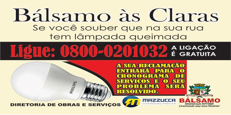 """Prefeitura lança campanha """"Bálsamo às Claras"""" com 0800 para reclamações de lâmpadas queimadas"""