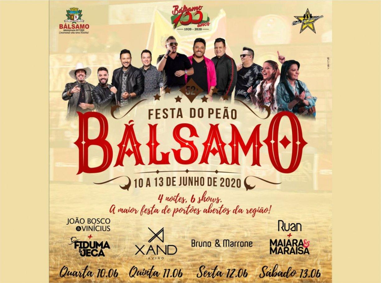 52ª Festa do Peão de Bálsamo tem grade de shows divulgada será de portões abertos