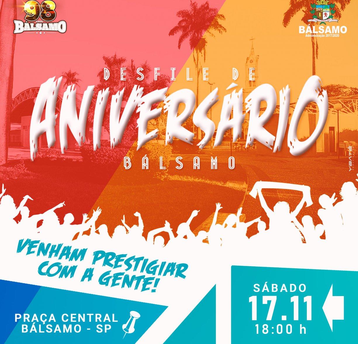 Desfile Cívico, Show com Felipe & Falcão e Missa em Ação de Graça movimenta o fim de semana nos 98 anos de Bálsamo.