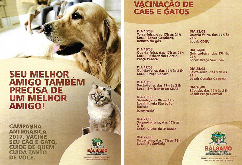 Começa nessa terça-feira, dia 15 de agosto a vacinação contra raiva em cães e gatos de Bálsamo