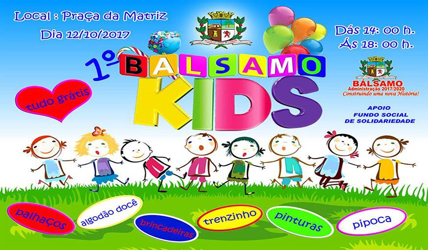 1º BÁLSAMO KID'S Prefeitura e FUNSOL promovem tarde de Lazer e Recreação para as crianças nesse dia 12 de outubro